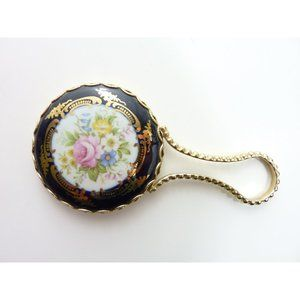 Vintage Small Hand Held Mirror Blue Porcelain